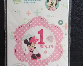 Baby Month Stickers, Minnie Mouse, Month By Month Stickers, Baby Milestone Stickers, Embellishments, Scrapbooking , Decorations