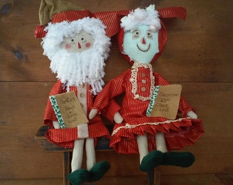 Primitive Raggedy Ann Mr and Mrs Santa