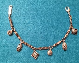 Vintage Silver tone Link Napier Bracelet with charms