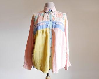 Vintage 80s Shirt Pastel Colors Pink Yellow Blue Flower pattern Casual shirt 1980s Womens Summer Fashion Medium M City Look Viscose shirt