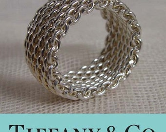 Tiffany Sterling Silver Somerset Mesh Weave Ring Sizes 5, 7.5, 12