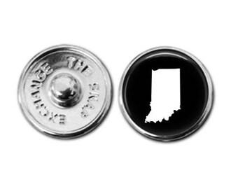 Indiana charm, Indiana jewelry, Indiana map charm, snap button jewelry, button snap jewelry, button jewelry, snap charm jewelry