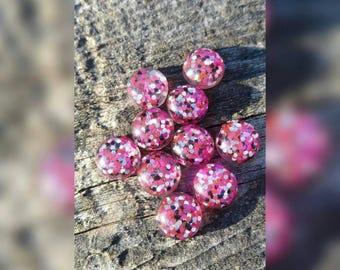 12mm Pink Polka Dot Party Cabochons