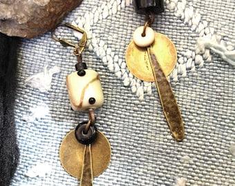 Long earrings, design, modern, beige-black-bronze. Murano beads, glass beads, bronze. Unique creation.