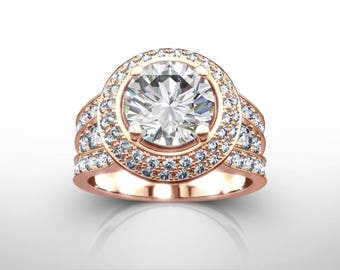 2 Carat Diamond Engagement Ring, 14k 18k Rose Gold Engagement Ring, Round Cut Engagement Ring, Engagement Ring, 2 Carat Diamond Ring