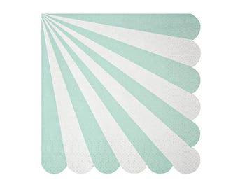 Mint Napkin - aqua blue striped scallop napkins
