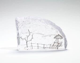 Dancing in the rain.  Miniature Glass Wonderland