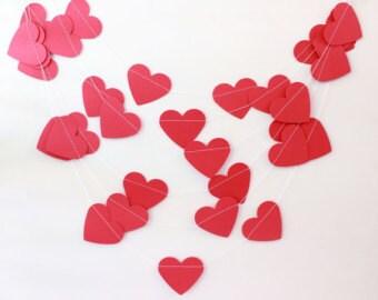 Red Heart Paper Garland Wedding Decoration Valentine's Day