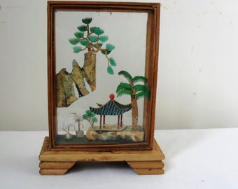 ASIAN Cork Carving Vintage 1960s/70s CORK DIORAMA Small Cork Carving Storks/Pagoda Scene in Bamboo & Glass Case Collectible Art Object