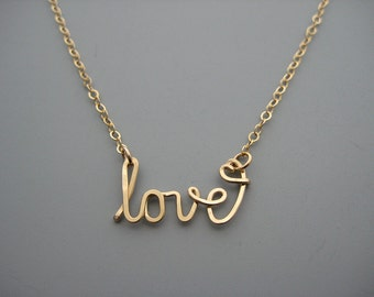 Gold Love Necklace with Small Heart - cursive word choker with delicate chain,  graphic designer gifts