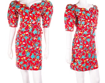 Yves Saint Laurent Vintage 80s Floral Puff Sleeve Top and Skirt Set