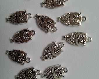 12 pcs small dull tone silver owls