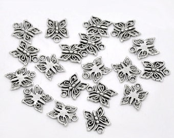 20 pcs dull tone silver Butterfly charms