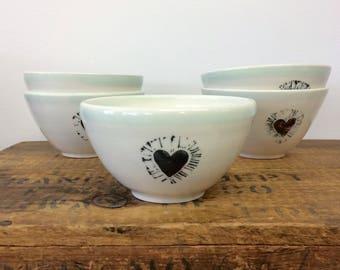 Dine porcelain bowl • heart • handmade • love • stamp • celadon • soup • cereal • chilli • dip • café au lait • modern