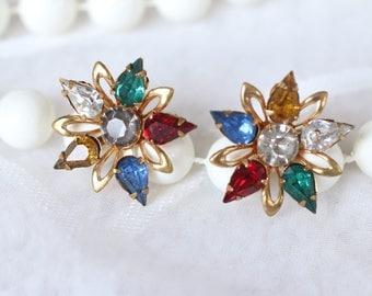 Burst of Color Vintage Rhinestone Screw Back Earrings