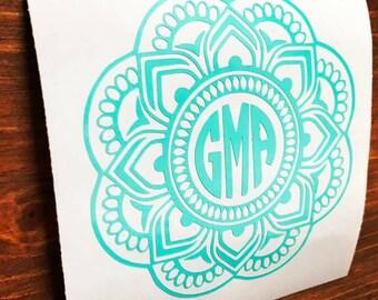 Mandala Monogram Decal, mandala decal, Vinyl Decal, Monogram car decal, Personalized decal, vinyl sticker, yeti decal, car decal,circle font