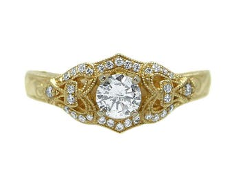 14k Yellow Gold Vintage-Inspired Diamond Engagement Ring