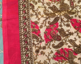 Pure Silk Sari, Gorgeous shimmery Cream with gold/taupe/brown/pink SILK Sari, gorgeous and flowy SARI, printed silk