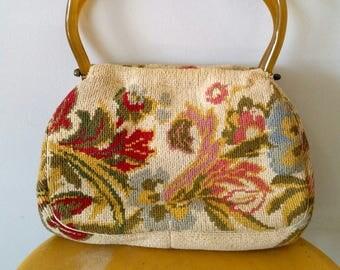 Vintage Floral Tapestry Purse 60's Hand Bag