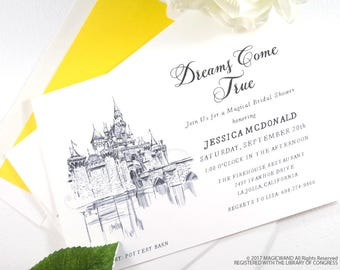 Disneyland Castle Bridal Shower Invitations, Fairytale Wedding, Disney, Hand Drawn (set of 25 cards & envelopes)