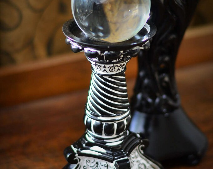 CRYSTAL BALL STAND, sphere stand, gothic decor, wiccan decor, black home decor, wiccan altar, orb display, gazing ball stand