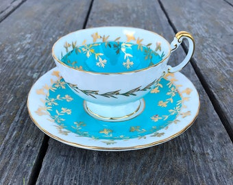 Aynsley Bone China Tea Cup and Saucer Set England Blue Gold White Vintage English Floral Tea Party