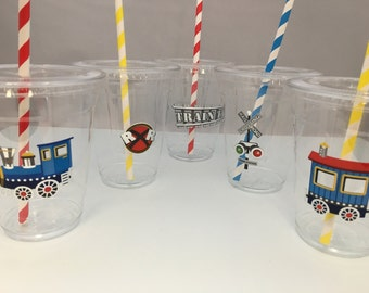 Train Party Cups with Lids and Straws, Plastic Train Party Drink Cups, Locomotive Plastic Cups