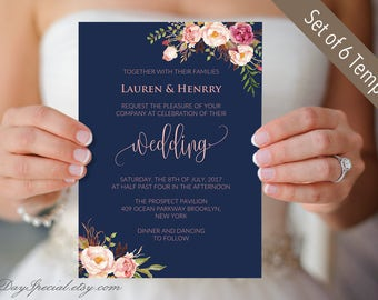 Set of 5 Navy Wedding Invites Suite, Printable Pink Floral Wedding Invitation Templates, Rustic Boho Chic, DIY PDF Digital Download #103