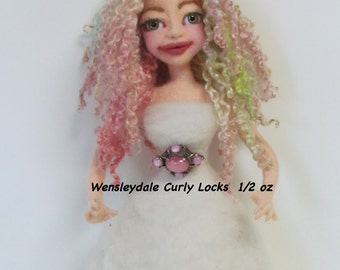 Doll Hair, Wensleydale Curly Locks, Curly Locks.  Hand Dyed/ Painted Doll Hair, soft pastel colors, Listed for 1/2 oz