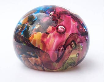 Glass Art One of a Kind  Dark RAINBOW Glass Blown Paperweight