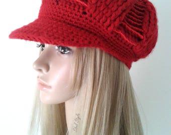 Peaked Cap newsboy crochet Hat toque Hat woman Red Hat crochet, birthday gift idea.