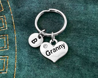 Granny Keychain VERY SMALL Heart Keyring Grandma Keychain Mother Keychain Grandmother Keychain Mothers Day Charm Keychain Personalized Gift