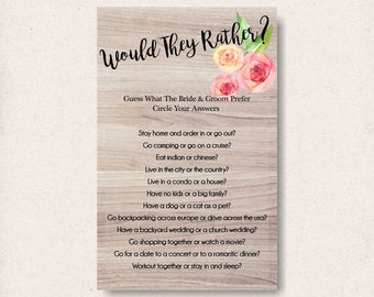 couples shower games, unique bridal shower game, would they rather, diy wedding shower game, games printable, shower game ideas - br61