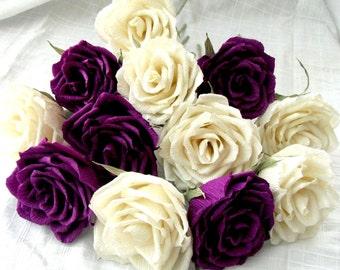 24 pcs roses Purple & Ivory roses, Paper bouquet, Crepe paper flower, Wedding flower, Wedding decor idea, Anniversary gift