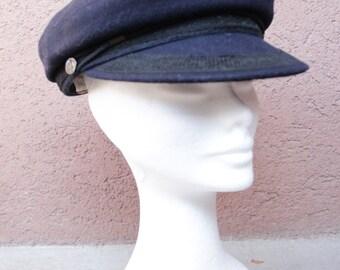 Vintage Matem French Sailor Cap - Navy Blue Cap Hat