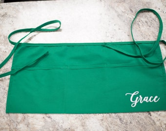 Custom Waist Apron, Personalized half apron for waitresses, gardeners, artists, shop workers. Birthday gift. Christmas gift.