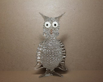 Vintage Glass Owl Figurine - 7.5 inch Tall