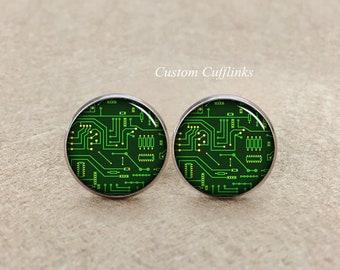 Circuit board Cuff links, circuit cufflinks, Motherboard circuit board cufflinks, computer circuit, Geek gift for him, Electronics Engineer