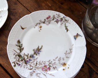 Late 1800s Vintage Haviland Morel Porcelain Dessert Plates - Set of 8 - Butterfly and Flowers - Free Shipping Within the USA