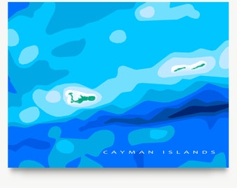 Cayman Islands Map Art, Caribbean, Blue Ocean Print, Grand Cayman