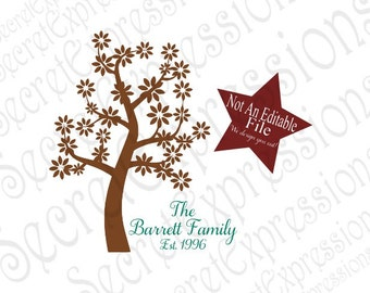 Custom Personalized Tree Design Svg, Family Name Svg, Wedding Svg, Digital Sign Cutting File JPEG DXF SVG Cricut, Svg Silhouette Print File