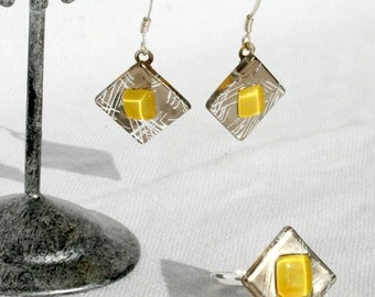 Ornament earrings ears and ring, glass fusing diamond silver and yellow. Ring and earrings 925 Silver