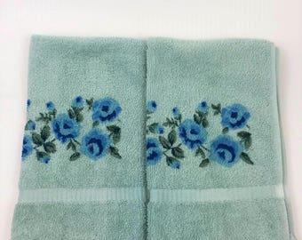 Vintage Blue Floral Hand Towels - Set Of Two Retro Floral Hand Towels - Light Blue Vintage Towel - Blue Vintage Towel Set
