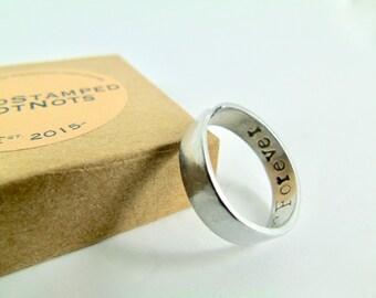 Cuff Ring Hand Stamped  Secret Message Boyfriend Gift Girlfriend Gift  Best Friend Gift Anniversary Love Token Valentine  in Gift Box