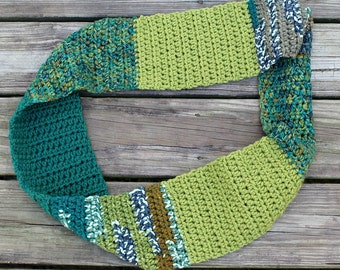 Color Block Scarf // Crochet // Handmade // Free Shipping