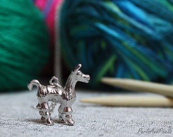 Alpaca Necklace, Gift for knitter, crocheter, large silver alpaca llama pendant on long chain