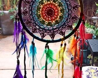 New Large Handmade Native American Design CROCHET DREAMCATCHER With Chakra FEATHERS, Dream Catcher