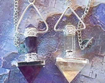 2 Large  AMETHYST and CRYSTAL Quartz PYRAMID Dowsing Pendulum with Chains and 2 Storage Pouches, Sacred Geometry, Divination