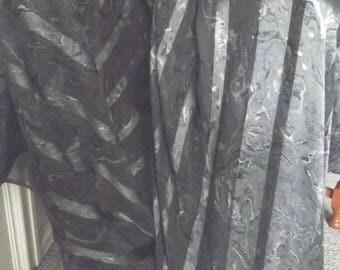 Marbled Satin Stripe Chiffon Border Design Grey Silver Fabric