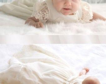 Baptism Dress-Flower Girl Dress-baby dress-Baby girl Clothes-Newborn Girl Dress-headband-Baby Dress-Christening Dress-size 0m-9m